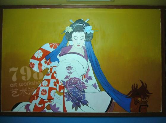 浮世中绘——日式风格手绘墙作品