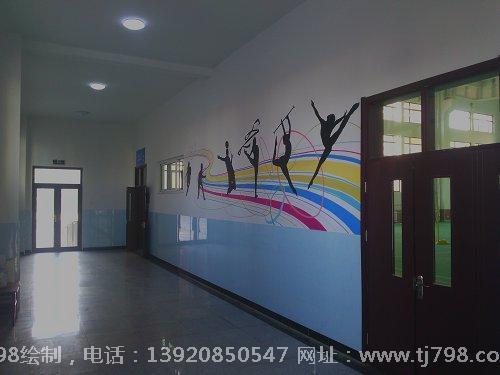天津塘沽十一中学体育馆手绘墙画作品