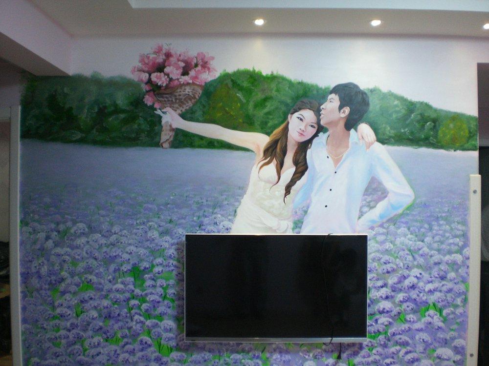 墙绘婚纱照图片大全
