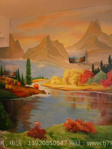 田园风景油画墙绘