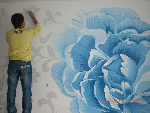 蓝色牡丹背景墙手绘墙作品案例