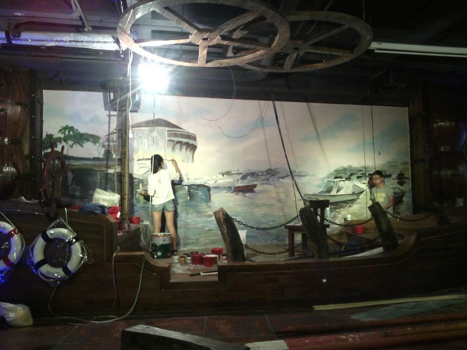 天津老船吧主题餐厅手绘壁画作品